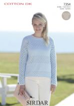 Sirdar Cotton DK Knitting Pattern - 7354 Sweater